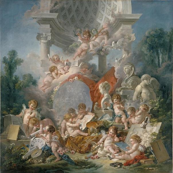 «Гении искусств», Франсуа Буше 1761г. Холст, масло. Размер: 72 x 74 см. Анжер, Музей искусств На картине изображены ангелы, покровители каждого человека с момента рождения. В мифологии