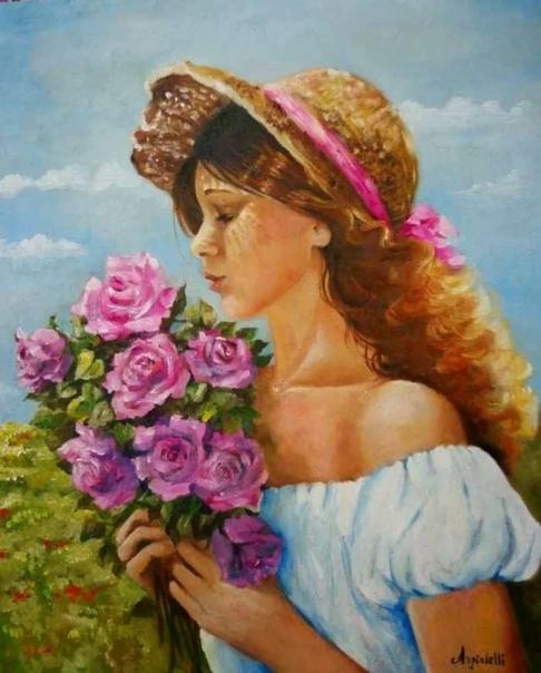 Современная итальянская художница Анна Рита Анджолели специализируется на реалистичной портретной живописи В творчестве предпочитает работу маслом и крупные планы, используя контрасты светотени,