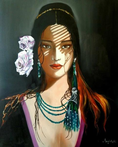 Современная итальянская художница Анна Рита Анджолели специализируется на реалистичной портретной живописи