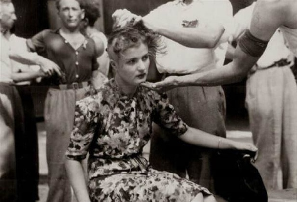Послевоенные расправы над женщинами во Франции имевших интимную связь с немецкими солдатами в период оккупации Французы сдавшие свою страну, гитлеровской Германии за 42 дня, после освобождения