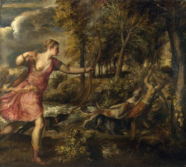 «Смерть Актеона», Тициан 1575г. Холст, масло. Размер: 178.8×197.8 см. Национальная галерея, ЛондонОдна из поздних картин Тициана. Входит в цикл «поэмы» из 7 полотен, написанных Тицианом по