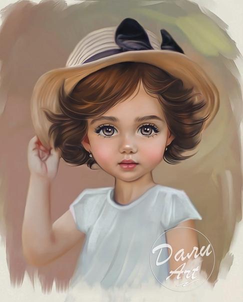 Российская художница превращает детские фотографии в очаровательные мультяшные портреты