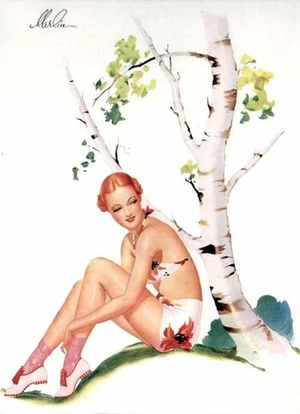 Художник-иллюстратор Мерлин Инабнит. Родился он в Айове, так что американец. В тридцатых годах работал в Англии, да и в начале сороковых тоже, так что некоторые считают его английским